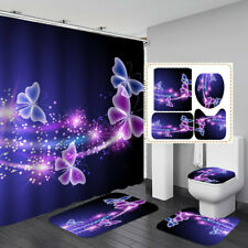 Blue Purple Butterfly Bath Mat Toilet Cover Rugs Shower Curtain Bathroom Set