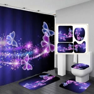 Blue Purple Butterfly Bath Mat Toilet Cover Rugs Shower Curtain Bathroom Decor