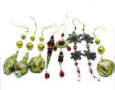 Assorted Dangling Gold Glitter Rhinestones Beads Christmas Ornament Decoration
