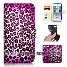 ( For iPod Touch 6 ) Wallet Flip Case Cover AJ40342 Purple Leopard