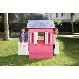 Cottage House, Pretend Playhouse with Working Doors, for Kids 2-8 Years Old