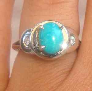 .12ct Diamond Cabochon 9X7mm Turquoise Solid 14K W Gold Ring Fine Jewelry
