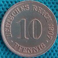 PIÈCE MONNAIE ALLEMAGNE 1907  AA 10 PFENNIG    Ref 0285