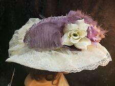 Ladies Hat Old West Victorian Edwardian style Elsie Massey Cream and Lavender