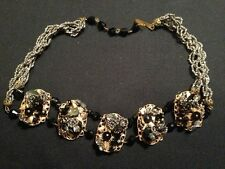 VINTAGE 1950 MIXED MEDIA BLACK & GOLD CHOKER NECKLACE!  MOST UNUSUAL I HAVE EVER
