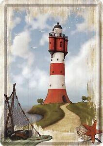 Nostalgic Art Leuchtturm maritim Strand und Meer Blechpostkarte Lighthouse
