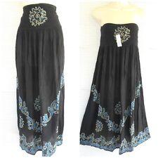 Tie Dye Boho Hippie Long 2 in 1 Skirt Dress Embroidery One Size Black Blue