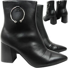 Womens Ladies Pointed Toe Mid High Heel Block Ring Ankle Boots Shoe Size ZIP NEW