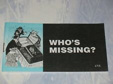WHO'S MISSING   CHICK CHRISTIAN/ GOSPEL TRACT  2003   JACK CHICK PUBLICATIONS