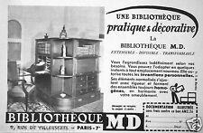 PUBLICITÉ 1950 UNE BIBLIOTHEQUE MD PRATIQUE ET DÉCORATIVE - ADVERTISING