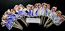 12 X Sofía la primera Pastel picos, Cupcake Toppers Niñas Cumpleaños Decoración Muñeca 2