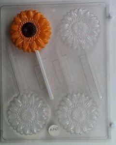 SUNFLOWER LOLLIPOP CLEAR PLASTIC CHOCOLATE CANDY MOLD AO065