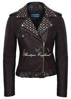 'ROCKSTAR' Ladies Leather Jacket Brown Studded BIKER FASHION REAL LEATHER 4326