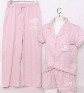 NEW Los Angeles LA Rams NFL Pink Pants Shirt Short 3-Piece Pajama Set Women's M