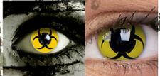 Crazy Contact Lenses Lentilles Kontaktlinsen Fun Halloween Yellow Biohazard Hot