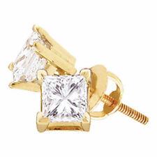 14k Yellow Gold Womens Princess Diamond Solitaire Stud Screwback Earrings 7/8