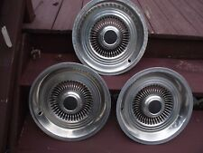 """THREE VINTAGE 15""""?,  BLACK CENTER HUBCAPS, FORD? CHEVY? CHYSLER? 2 GOOD, 1 ROUGH"""