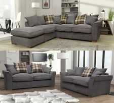 Fable Large Corner Sofa & 3 + 2 Seater Sofa Set Grey Charcoal Fabric Scatter