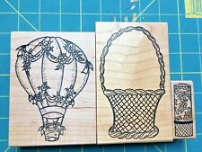 PARKED RUBBER ME CARRIE LOU VICTORIAN BALLOON BASKET LIPSTICK WOOD RUBBER STAMP