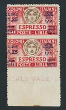 "LIBYA 1926-36, 1.25L on 60c ""IMPERF BETWEEN"" SPECIAL DEL, VF MLH Sc#E11v Sa#E12k"