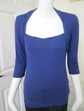 "M&S - BLUE, ""SQUARE- NECK"" 3/4 SLEEVED  T-Shirt Size S. 95% COTTON 5% ELASTANE"