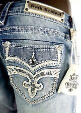 "$180 Rock Revival Womens ""Melina"" Swarovski Leather Insert Easy Straight 36 X 32"