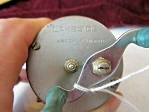 Rare Antique Lakeside Abbey & Imbrie USA Casting Reel Teal Color Handle