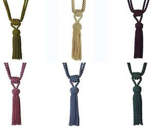 PAIR of Kiera Knotted Rope Tassel Curtain Tiebacks 6 Colours