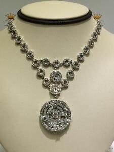 Platinum Sterling Silver Custom Made White Sapphire Halo Design Tennis Necklace