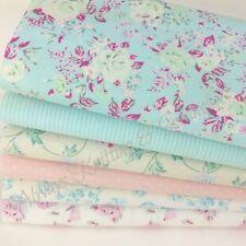 Pastel pink & blue garden floral 6 piece fat quarter bundle 100% cotton fabric