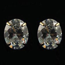 14k Gold Plated Opal Shape Diamond Simulant Crystals Stud Earrings