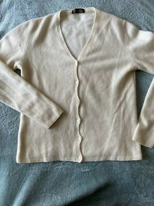 LORO PIANA 100% Cashmere Vintage Cream Cardigan Size 44 UK 10