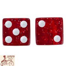 TRICK TOPS DICE  GLITTER RED CAR BIKE BICYCLE VALVE CAPS--1 PAIR