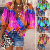 Fashion Women's Tie-Dye Shirt 3/4 Sleeve Blouse Casual  Button T-Shirts Tops