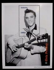 "1996 Tanzania Elvis Presley ""Guitar"" Commemorative Stamp Sheet w COA"