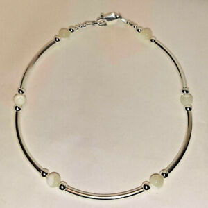 """Mother of Pearl & Sterling Silver Tube Bracelet 925 SS 6.5"""", 7"""", 7.5"""" or 8"""""""