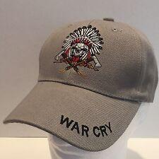 WAR CRY INDIAN SKULL BONNET AXES BASEBALL HAT