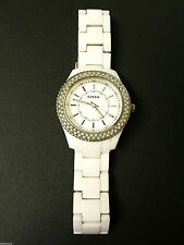 (W) FOSSIL WHITE RESIN DOUBLE ROW CRYSTAL WATCH ES2444 PRE-OWNED WORKING BATTERY