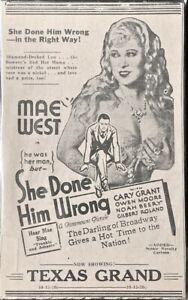"1934 Mae West movie ad - ""She Done Him Wrong"" - Original"