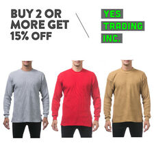 PROCLUB PRO CLUB MENS CASUAL THERMAL T SHIRT LONG SLEEVE SHIRTS PLAIN WAFFLE TEE