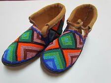 AUTHENTIC NATIVE AMERICAN MOCCASINS/SLIPPERS - FULLY BEADED MULTI-COLOR - 8 IN