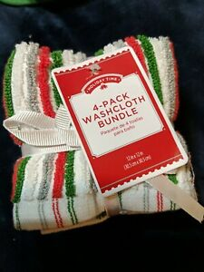 Christmas Washcloth Set of 4 Thick Cotton 12 x 12 inch Red White Green Gray