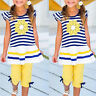 Kids Baby Girls Outfits Set Striped T-shirt Tops Tunic Dress+ Shorts Pants Suits