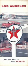 1960 TEXACO OIL Road Map LOS ANGELES California Hollywood Beverly Hills Glendale