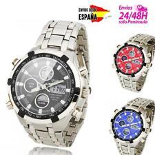 Reloj De Pulsera Hombre Caballero Digital y Analogico Acero Inox. Luz LED acero