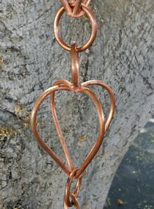 Hearts Copper Rain Chain