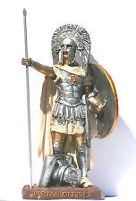 "Greek Spartan Warrior Officer Figurine Statue with Spear- Shield Resin  8.27"""