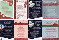Christmas Weatherproof Plastic Grave Memorial Remembrance Card Various Relations