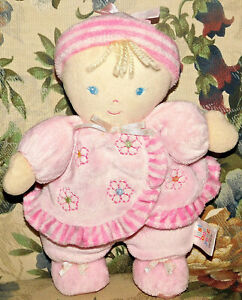 Carter's Just One Year Pink Flower Blonde Hair Doll Dolly Rattle Lovey Flower