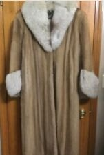 Plus Size Vintage Autumn Haze Silver Fox Collar Cuffs Full Length Mink Coat